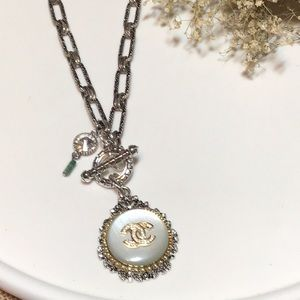 Authentic Chanel goldtone Button necklace.